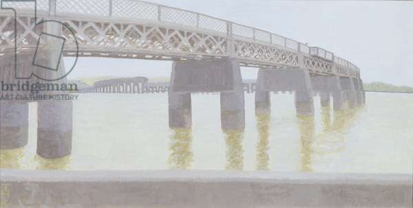 The Tay Railway Bridge (gouache on gesso panel)