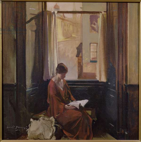 Woman Reading by a Window (oil on canvas)