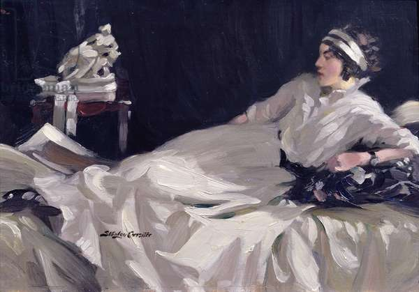 Reclining Lady in White (oil on panel)