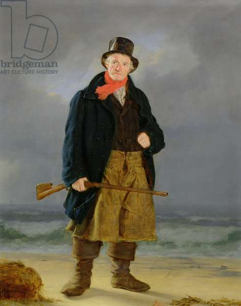 A Fisherman with a Gun (oil on panel)