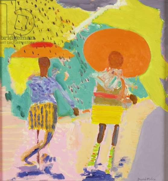 Black Girls Walking in a Sunny Shower, Washington (oil on canvas)