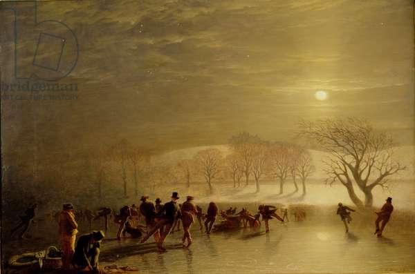 Skaters: Duddingston Loch by Moonlight, 1857 (oil on canvas)
