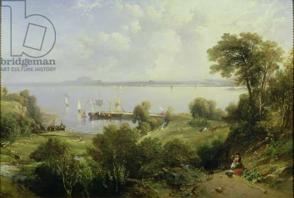 Aberdour Harbour: Edinburgh in the Distance, 1849 (oil on canvas)