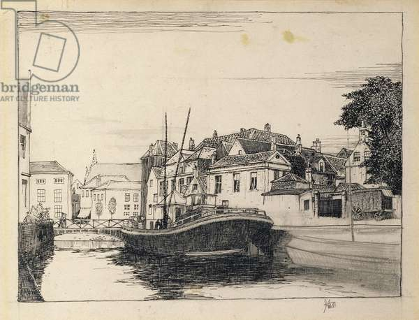 The Canal, Bruges, study for an etching (pen and ink an pencil on paper)