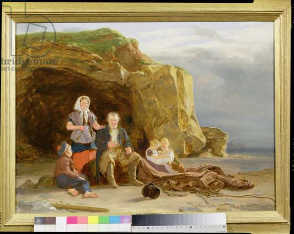 Coast Scene with Figures Mending Nets (oil on panel)