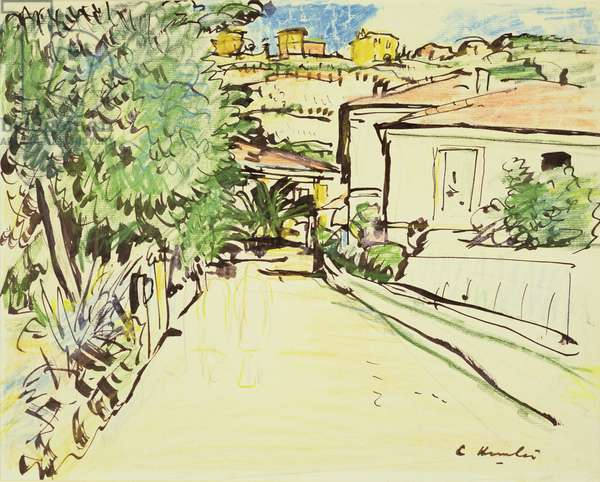 Street in Villefranche, c.1927 (w/c and ink on paper)