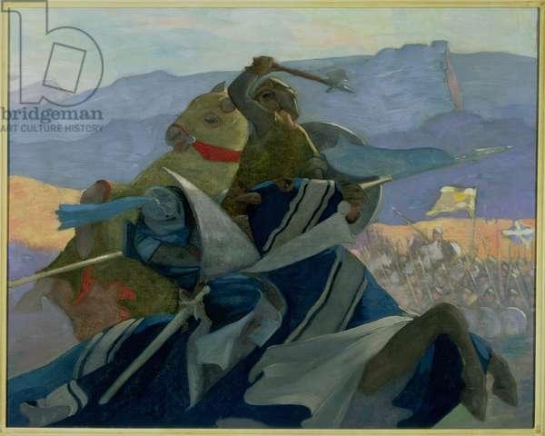 Robert the Bruce and De Bohun (oil on canvas)