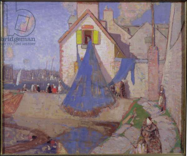 Drying the Nets, Concarneau (oil on canvas)