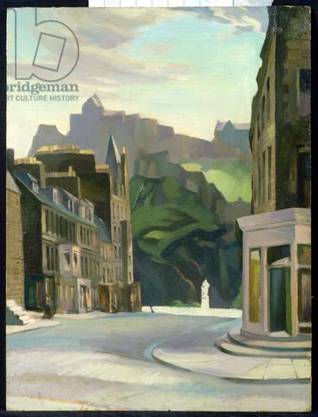 Edinburgh from Castle Street, 1930 (oil on board)