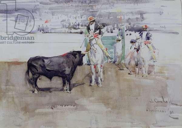 The Bull Ring, Algeciras, 1891 (w/c on paper)