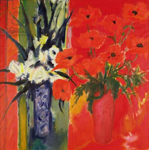 Poppies and Roses, 1973 (oil on canvas)