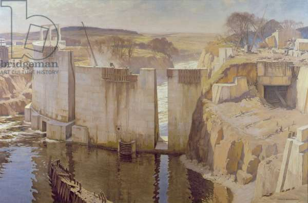 Building the Tongland Dam, 1928 (oil on canvas)
