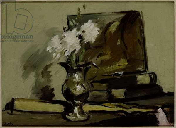 Flowers in a Silver Jug (oil on panel)
