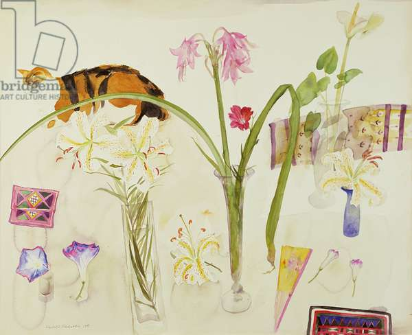 Cat and Flowers, 1981 (w/c on paper)