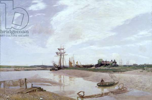 Awaiting the Tide, The Rother at Rye (oil on canvas)