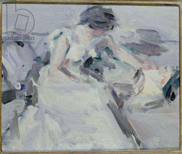 Lady in a White Dress (oil on panel)