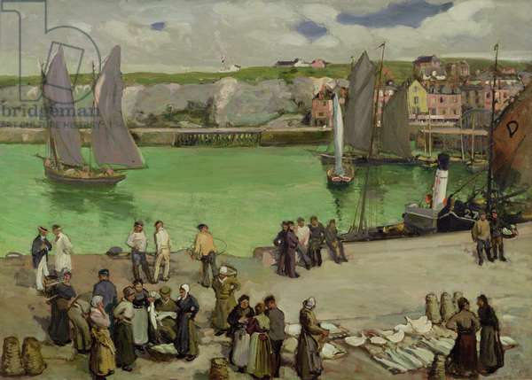 Dieppe Harbour (oil on canvs)