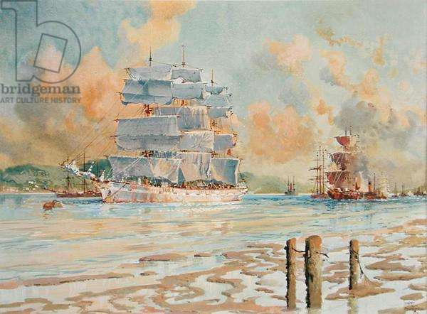 A Three-Master Sailing Ship, the St. Margaret, 1923 (w/c & gouache on paper)