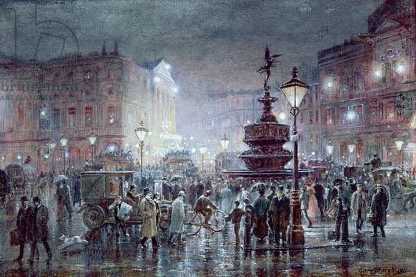 Piccadilly Circus at Night, 1911 (w/c and gouache on paper)