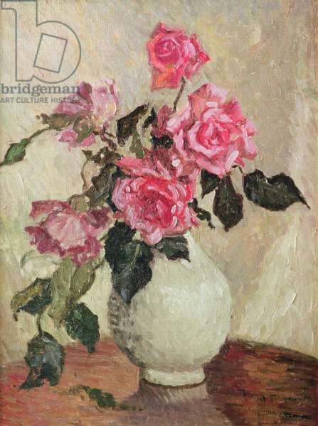 A Vase of Roses (oil on board)
