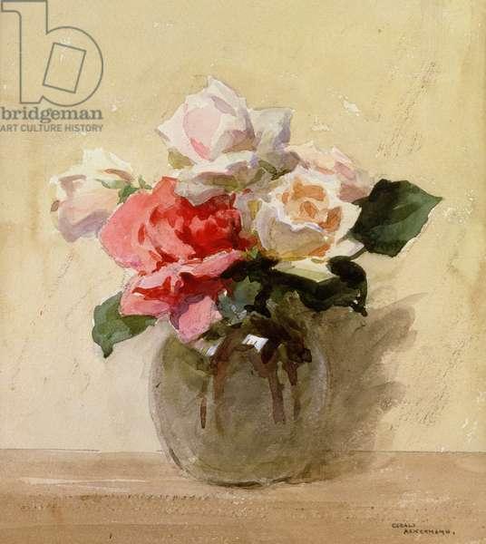 Vase of Roses (w/c on paper)