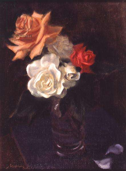 Red, White and Orange Roses (oil on canvas)