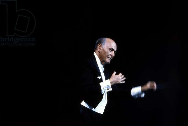 Georg Solti conducting with baton - 1990 Hungarian born English conductor, 1912-1997