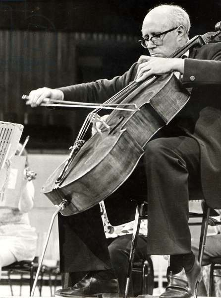 Mistislav (Mstislav) Rostropovich playing the cello circa 1967