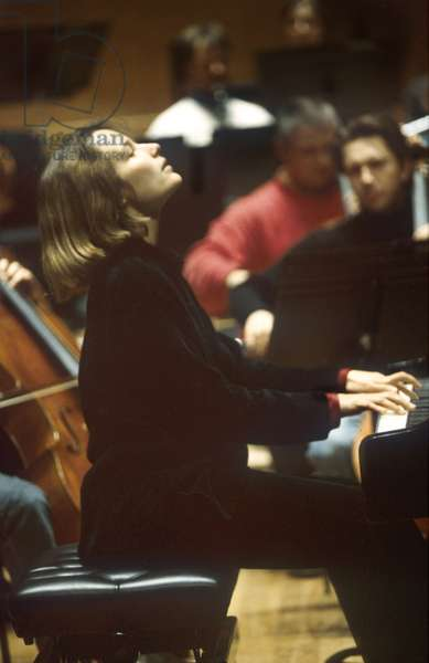 Hélène Grimaud plays with Christoph von Dohnanyi and the Philharmonia Orchestra in rehearsal at the Royal Festival Hall, 11th February 2003