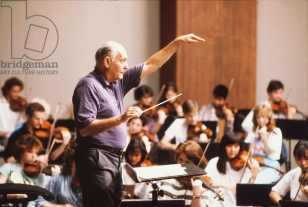 Georg Solti conducting and rehearsing with  Schleswig Holstein Festival Orchestra, 1990