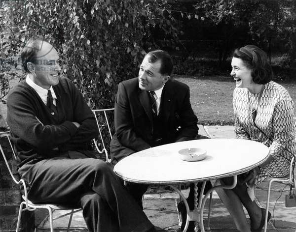 Roald Dahl (left) with wife Patricia Neal (right) being interviewed by F Lee Bailey (US lawyer, centre) for ABC TV c