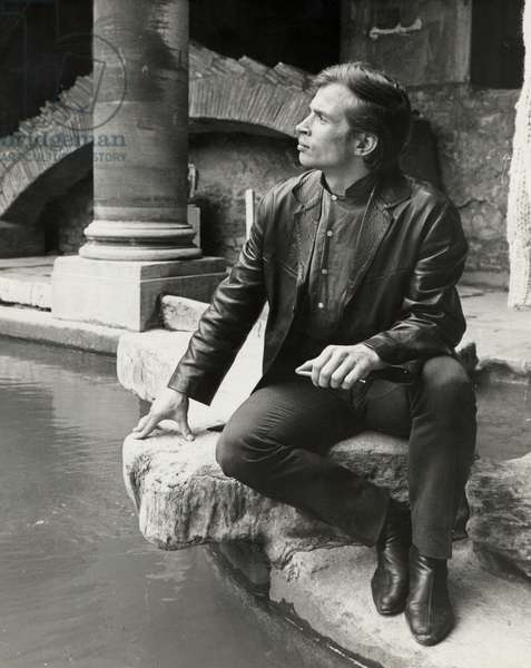 Rudolf Nureyev posing at the Roman baths in Bath, UK, 1963