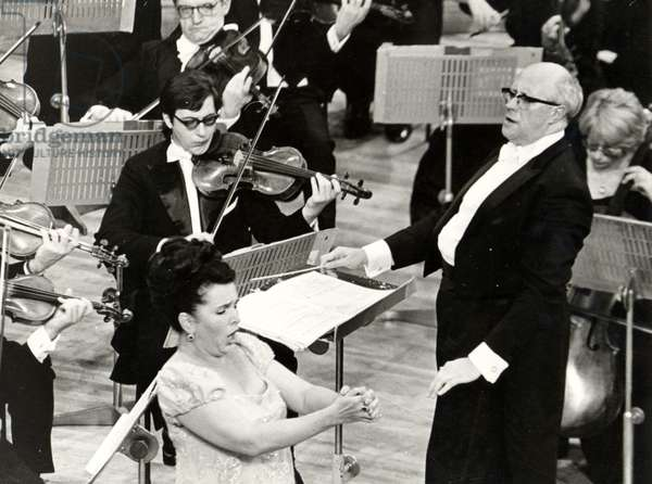 Mistislav (Mstislav) Rostropovich conducting the New Philharmonia Orchestra, at the Royal Festival Hall, September 1974