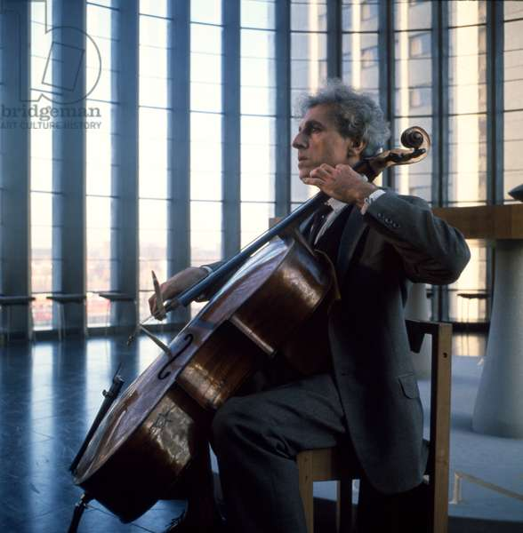 TORTELIER, P- playing cello in Coventry Cathedral 1962 by David Farrell French cellist and composer b