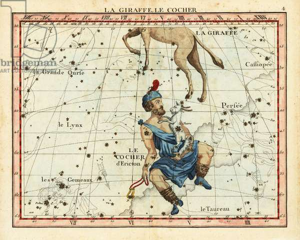 Camelopardalis and Auriga. With Cassiopeia, Lynx, Taurus, Ursa Major, Perseus, Gemini. Le girafe et le cocher. Handcoloured copperplate engraving from John Flamsteed and Nicolas Fortin's Celestial Atlas or Atlas Celeste de Flamsteed, Lalande, Paris, 1795.