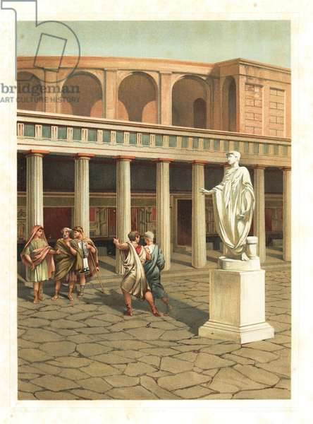Exterior of the Small Theatre or Odeon, Pompeii VIII.7.19. Men in the street before a statue of Secundo Cemarce Patricino. Chromolithograph by Friedrich after an illustration by G. Cel from Antonio Niccoliniõs Pompeii: Views and Restorations (Pompeii: Essaies et Restorations), published by Fausto Niccolini, Naples, 1898. Antonio was grandson of the architect Antonio Niccolini Sr.