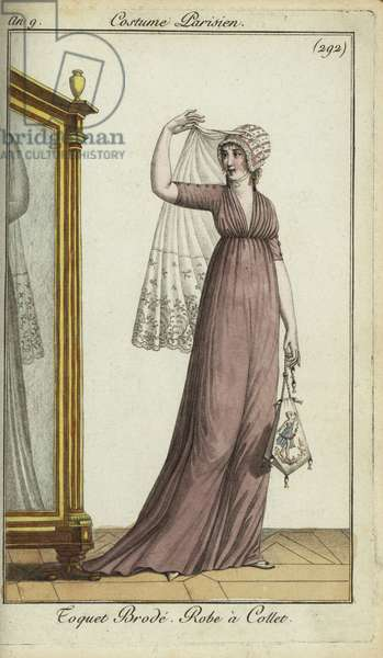 Fashionable woman in embroidered toquet hat, 1801 (handcoloured copperplate engraving)