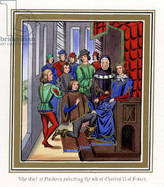 Count Louis II of Flanders (do Louis of Dampierre, known as Louis of Male or Maerle) (1330-1384) asks for the help of King Charles VI of France, known as the Good Aime (1368-1422), in 1382 - Lithography from the enluminated manuscript of the Chronicles (1322 to 1400) by John (Jehan) Froissart (1337-1404), 1868 - Count Louis II of Flanders soliciting the aid of King Charles VI of France, 1382 - Handcoloured lithograph after an illuminated manuscript from Sir John Froissart's Chronicles, London, 1868