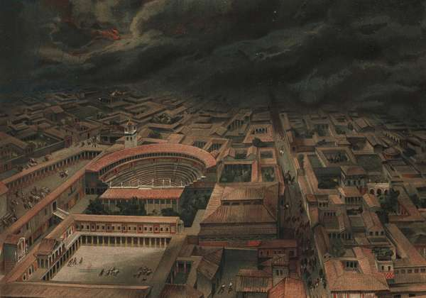 View of Pompeii at the moment of the volcanic eruption of Mt. Vesuvius vesuve in A.D.79 showing residents fleeing in the streets near the large theatre, small theatre, Quadriportico dei Teatri, etc. Chromolithograph by Dietrich after an illustration by C. Gel from Antonio Niccolinis Pompeii: Views and Restorations (Pompeii: Essaies et Restorations), published by Fausto Niccolini, Naples, 1898. Antonio was grandson of the architect Antonio Niccolini Sr.