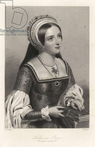 Catherine Parr - Katherine Parr, sixth queen of King Henry VIII of England. Steel engraving by W.H. Mote after a portrait by J.W. Wright from Mary Howitt's Biographical Sketches of The Queens of England, Virtue, London, 1868.