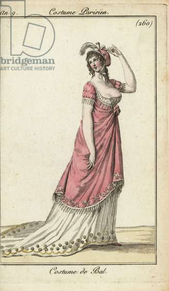 Fashionable woman in a luxury ball gown, Paris, 1800 (handcoloured copperplate engraving)