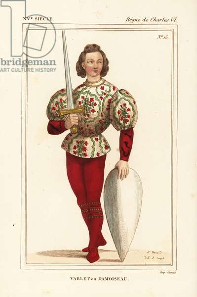 Page or squire, Varlet or damoiseau, to a knight, 15th century France. He wears an embroidered especially, red pourpoint and hose, and holds an epee and shield without coat of arms. Handcoloured lithograph by Leopold Massard after a tarot card by Jacquemin Gringonneur in the Bibliotheque Nationale (Nicolas Xavier Willemin II 176) from Le Bibliophile Jacob aka Paul Lacroix's Costumes Historique de la France (Historical Costumes of France), Administration de Librairie, Paris, 1852.