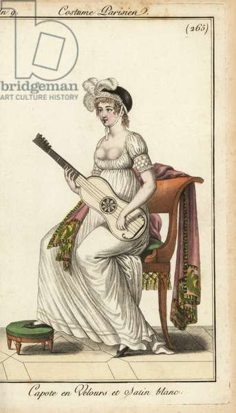 Merveilleuse playing a guitar, 1800 (handcoloured copperplate engraving)