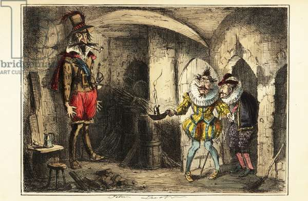 Guy Fawkes, leader of the Gunpowder Plot, caught in the cellar of the Houses of Parliament, 5 November 1604