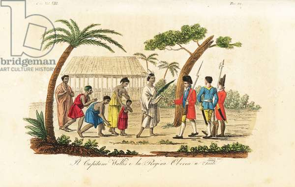 Fictional depiction of Queen Purea (Oberea) offering a plantain leaf in surrender to sailors of the Dolphin, 1767. (Captain Samuel Wallis was too ill with scurvy to leave the ship so Tobias Furneaux claimed the island on his behalf.) Handcoloured copperplate engraved by Sasso from Giulio Ferrario's Ancient and Modern Costumes of all the Peoples of the World, Florence, Italy, 1844.