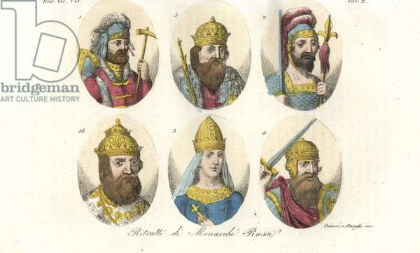 Portraits of early Russian rulers. King Rurik 1, Igor I 2, Saint Olga 3, Sviatoslav I Igorevich 4, Vladimir Sviatoslavich the Great 5, and Ivan IV the Terrible 14. Handcoloured copperplate engraving by Giarre and Stanghi from Giulio Ferrario's Costumes Ancient and Modern of the Peoples of the World, 1847.