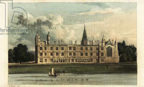 Burghley House, Cambridgeshire, seat of Henry Cecil, Marquis of Exeter. South front of the Elizabethan house with the lake landscaped by Capability Brown. Handcoloured copperplate engraving after an illustration by W. Westall from Rudolph Ackermann's Repository of Arts, London, 1825.