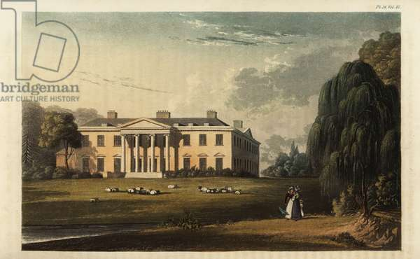 Broadlands, Romsey, the seat of Henry Temple, 2nd Lord Viscount Palmerston, English politician. Designed by Capability Brown with Ionic portico. Handcoloured copperplate engraving after an illustration from Rudolph Ackermann's Repository of Arts, London, 1825.
