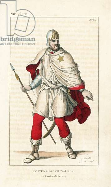 """Knight of the Order of the Star, founded in 1352 by King Jean II of France. He wears a helmet decorated with gold, cape and gonelle (tunic) of white damask lined with scarlet, a gold star embroidered on the left shoulder. He carries a sword and lance. Handcoloured copperplate drawn and engraved by Leopold Massard from """""""" French Costumes from KingClovis to Our Days,"""""""" Massard, Mifliez, Paris, 1834."""