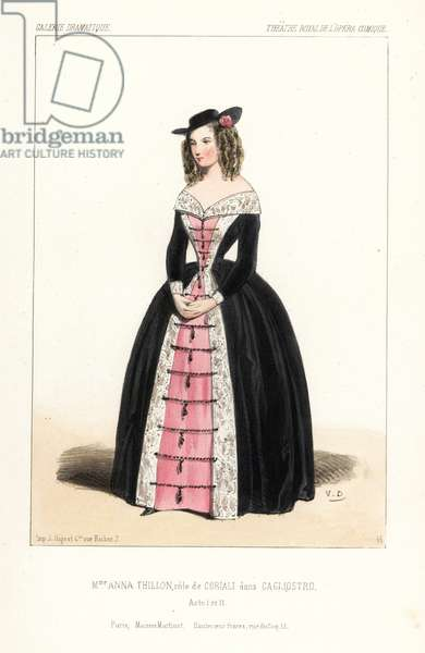 Opera singer Anna Thillon as Coriali in Cagliostro, Act I, II, by Eugene Scribe, Theatre Royal de l'Opera Comique, 1843. Handcoloured lithograph after an illustration by Victor Dollet from Galerie Dramatique: Costumes des Theatres de Paris, Paris, 1845.